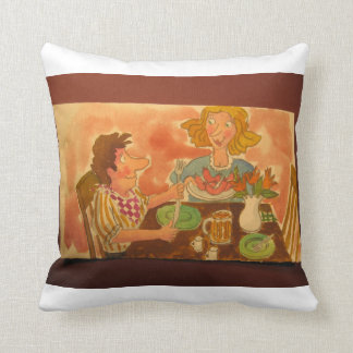 Mom and Dad love each other and hot dogs! Throw Pillow