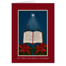 Mom And Dad, Open Bible Christmas Message Card at Zazzle