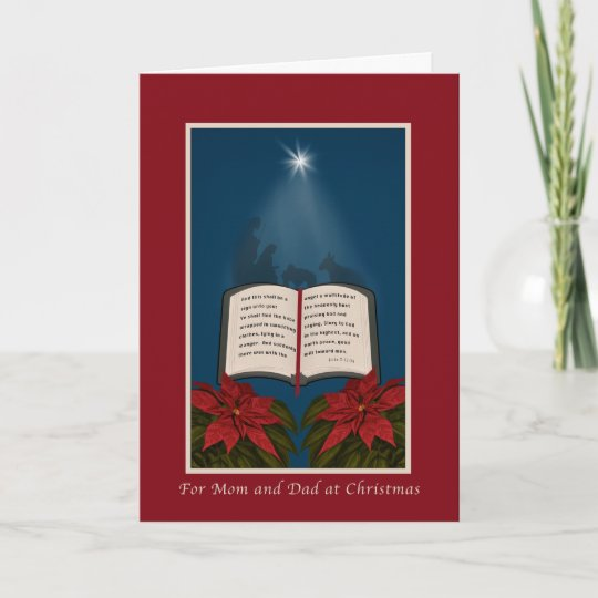 Christmas Message For Mom.Mom And Dad Open Bible Christmas Message Holiday Card