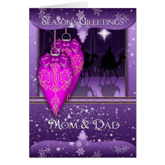 mom and dad season s greetings holiday card in pu