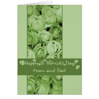 Mom and Dad St. Patrick's Irish roses Greeting Card