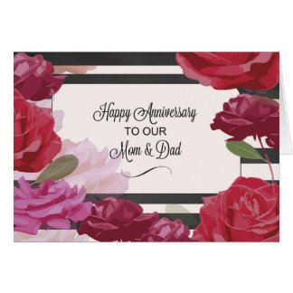 Mom and Dad Wedding Anniversary Rose Card