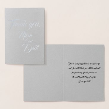 Bride Themed Mom and Dad Wedding Thank You Foil Card