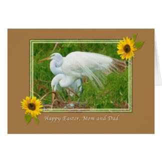 Mom and Dad's Easter Card with Great Egrets