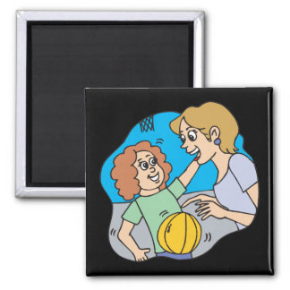 Mom And Daughter 2 Inch Square Magnet