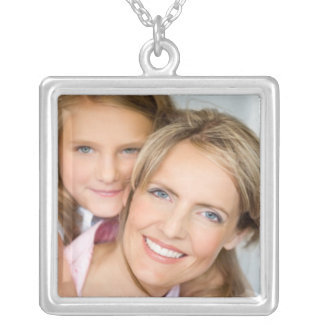 Mom and daughter photo template square pendant necklace