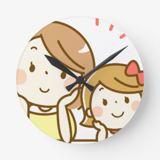 Mom and Daughter Round Clock