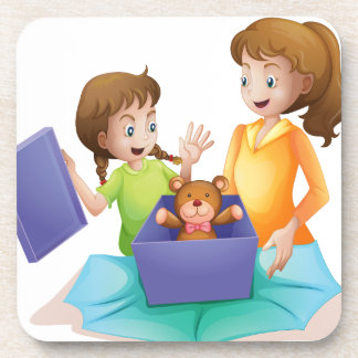 mom and kid drink coaster