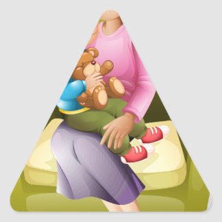 mom and kid triangle sticker