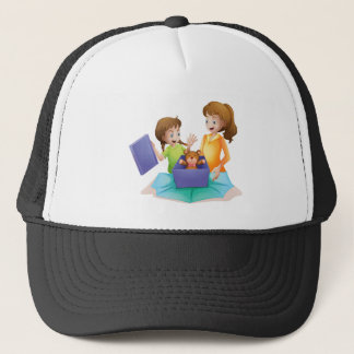 mom and kid trucker hat