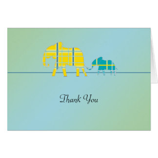 Mom and Me Blue Elephant Baby Shower Thank You Stationery Note Card