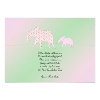 Mom and Me Elephant Baby Girl Shower Invitation