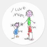 Mom and Me I Love Mom Classic Round Sticker