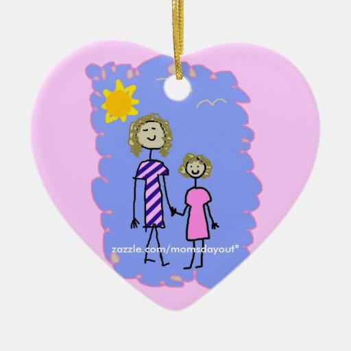 Mom and Me, Mother Daughter Walk Ceramic Ornament