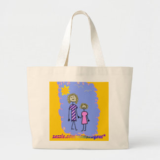 Mom and Me, Mother Daughter Walk Large Tote Bag