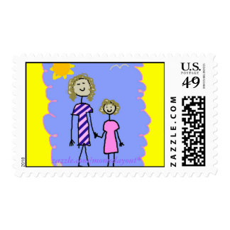 Mom and Me, Mother Daughter Walk Postage Stamp