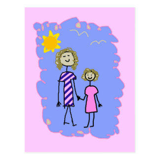 Mom and Me, Mother Daughter Walk Postcard