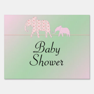 Mom and Me Pink Elephants Baby Shower Yard Sign