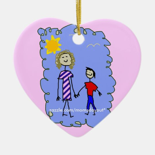 Mom and Son out for a walk Ceramic Ornament
