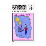 Mom and Son out for a walk Postage Stamp
