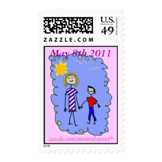 Mom and Son out for a walk Postage Stamps