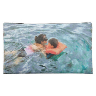 Mom and son swimming cosmetics bags