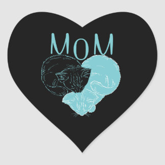 Mom and Two Heart Cats Heart Sticker