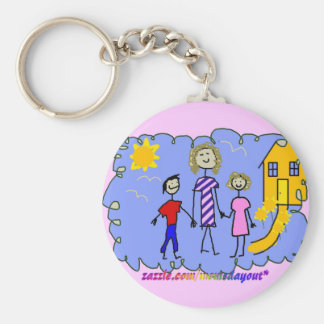 Mom and Us, Going for a Walk Basic Round Button Keychain