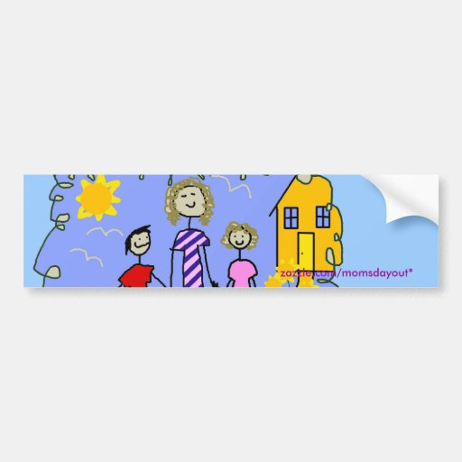 Mom and Us, Going for a Walk Car Bumper Sticker