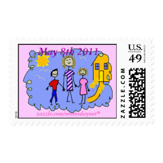 Mom and Us, Going for a Walk Postage