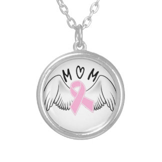 Mom Angel Wings Breast Cancer Awareness Silver Plated Necklace