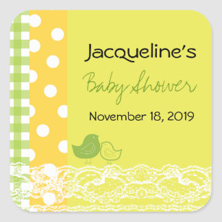 Mom & Baby Bird Lace Cute Baby Shower Gift Tag Square Sticker