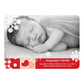 Mom & Baby Bird Lace Cute Girl Birth Announcement