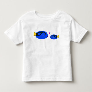 Mom & Baby Blue Tang Fish Kissing with Pink Heart Toddler T-shirt