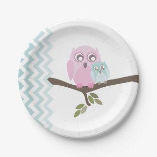 Mom + Baby Boy Owl Baby Shower 7 Inch Paper Plate