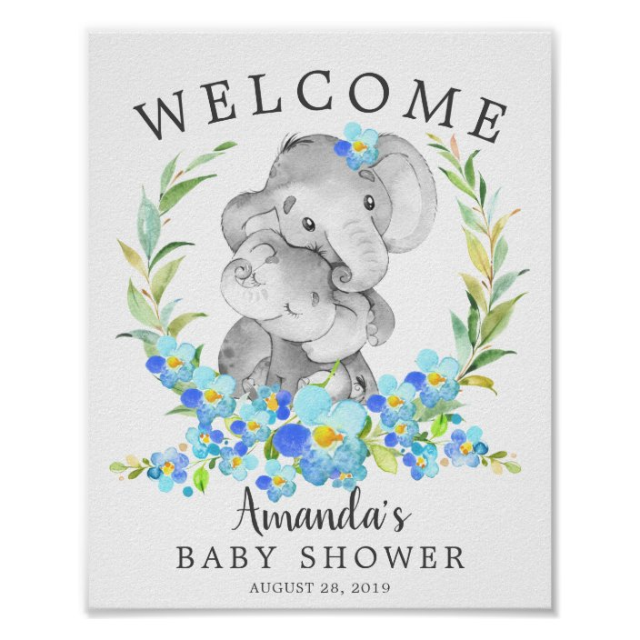 Mom Baby Elephant Welcome Baby Shower Poster Zazzle Com