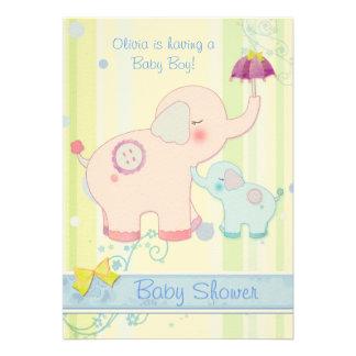 Mom & Baby Elephants Baby Boy Baby Shower Invites