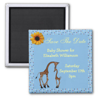 Mom & Baby Giraffe Blue Save the Date Baby Shower Magnet