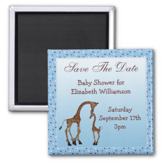 Mom & Baby Giraffe Blue Save the Date Baby Shower Magnets
