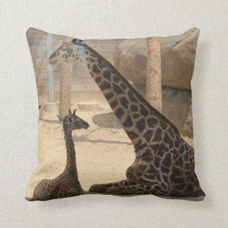 Mom & Baby Giraffe, Earthtone Throw Pillow