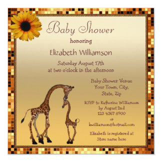 Mom & Baby Giraffe Gold Save the Date Baby Shower 5.25x5.25 Square Paper Invitation Card