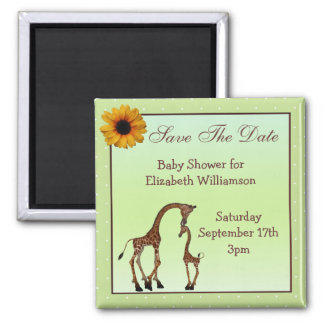Mom & Baby Giraffe Green Save the Date Baby Shower 2 Inch Square Magnet