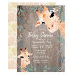 Mom & Baby Giraffe Rustic Wood Baby Shower Invitation