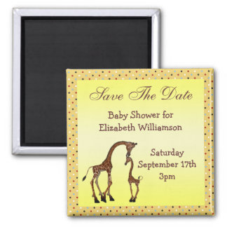 Mom & Baby Giraffe Save the Date Baby Shower 2 Inch Square Magnet