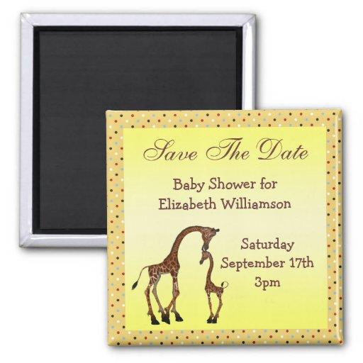 Mom & Baby Giraffe Save the Date Baby Shower Fridge Magnet