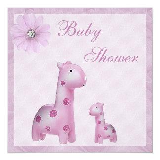 Mom & Baby Giraffes Lilac Girl Baby Shower Card