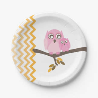 Mom + Baby Girl Owl Autumn Baby Shower Paper Plate