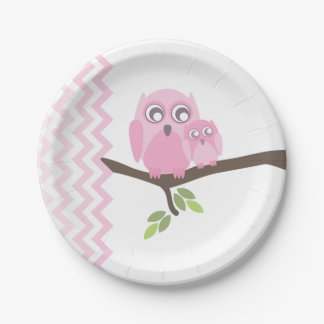 Mom + Baby Girl Owl Baby Shower Paper Plate