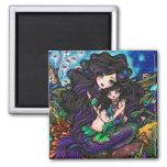 Mom & Baby Mermaid Fantasy Marine Art Hannah Lynn 2 Inch Square Magnet