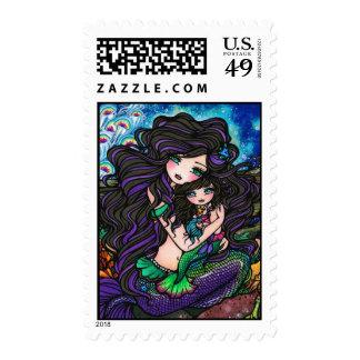 Mom & Baby Mermaid Fantasy Marine Art Hannah Lynn Postage Stamp